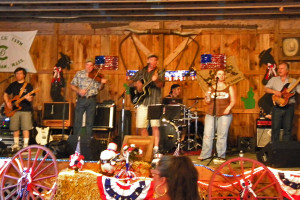 the band playing