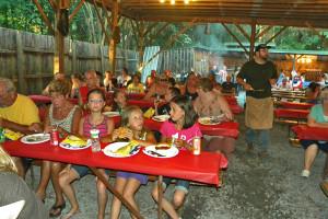 campers eating food