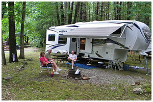 adults at campsite