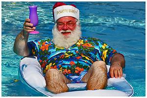 santa in the pool