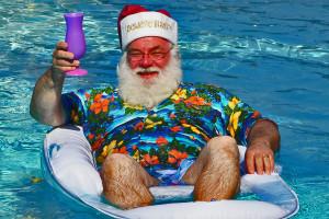 santa in the swimming pool