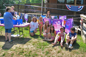 young campers at tie dye