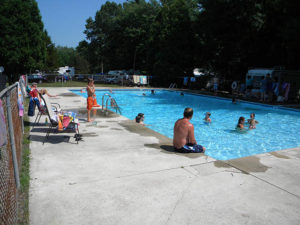 campers at the pool