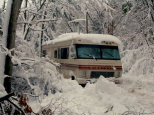 old photo of rv in the snow