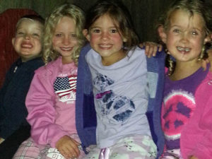 young girls camping